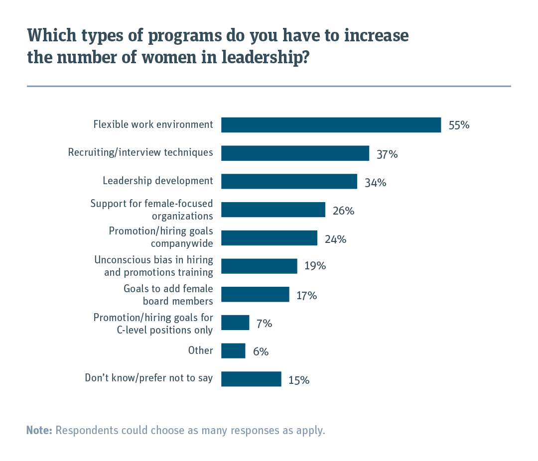 Bar chart showing the types of programs startups have in place to increase the number of women in leadership.