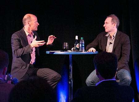 Head of Amazon Web Services Andy Jassy and Silicon Valley Bank CEO Greg Becker