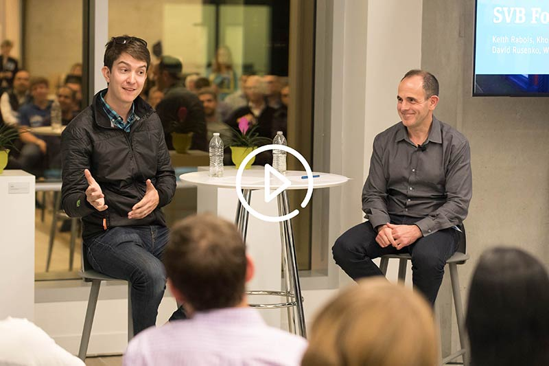Weebly's Dave Rusenko, left, and Khosla's Keith Rabois discuss how to best prepare for your Series B