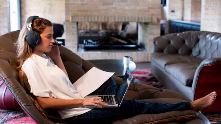 woman working from home 718x404